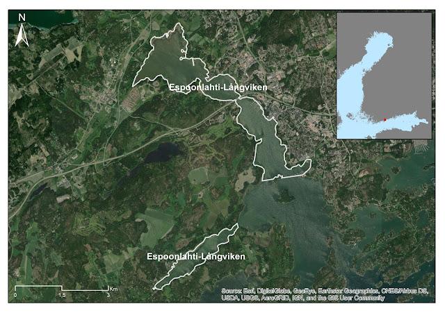 Karttakuva, jossa on valkoisella rajattu Uudellamaalla sijaitseva Espoonlahti-Långviken -alue.