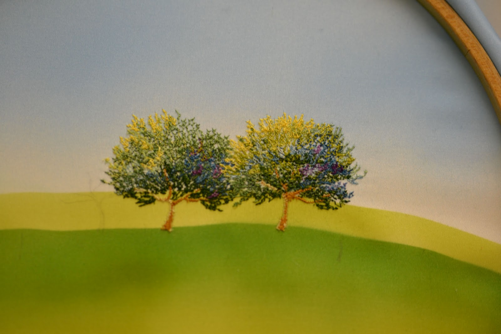 Two trees Stitched on airbrushed Silk