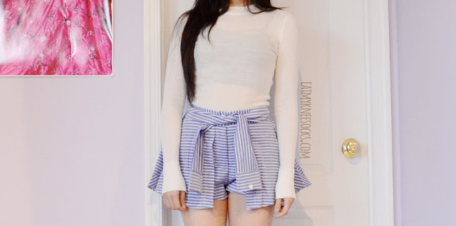 A cute ulzzang-style outfit featuring the blue striped tie-waist skort shorts from SheIn, similar to Yesstyle's Korean and Taiwanese fashion brands, worn with the UNIF Moran Top and a Brandy Melville style bralette.
