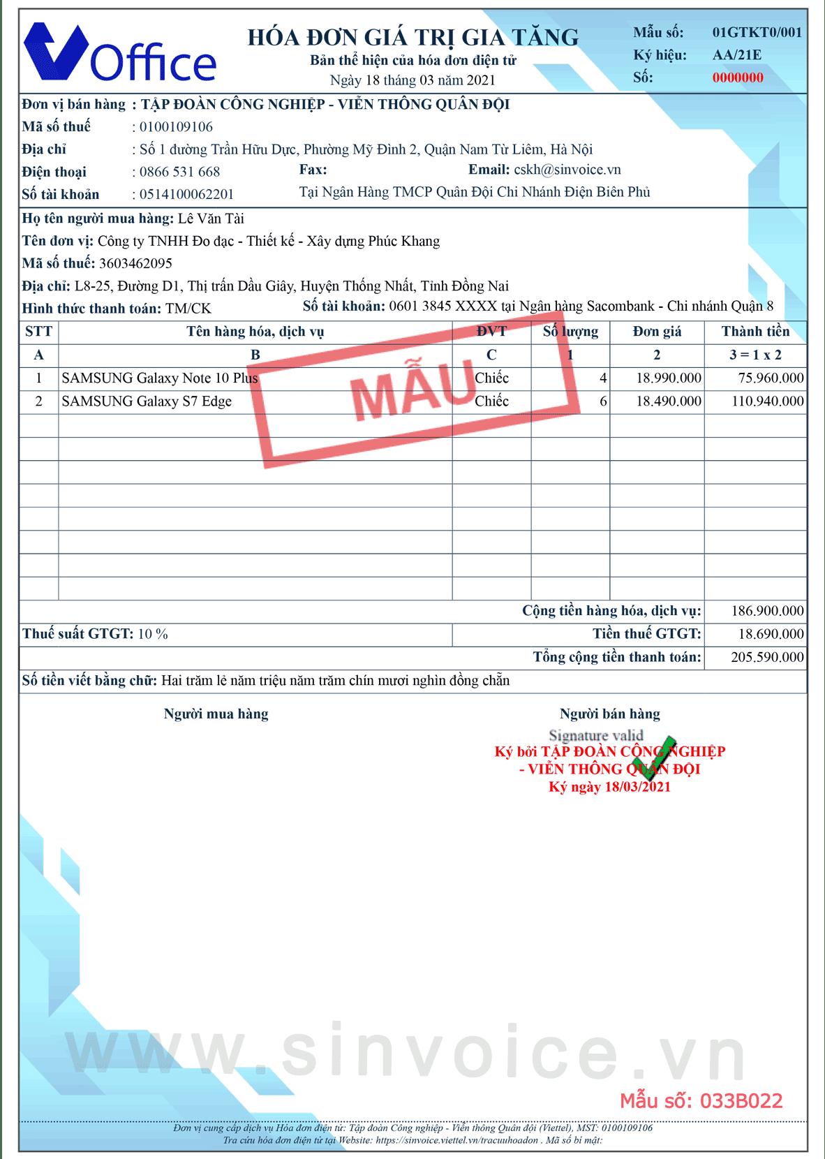 Mẫu hóa đơn điện tử số 033B022