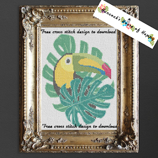 A tropical toucan cross stitch pattern.