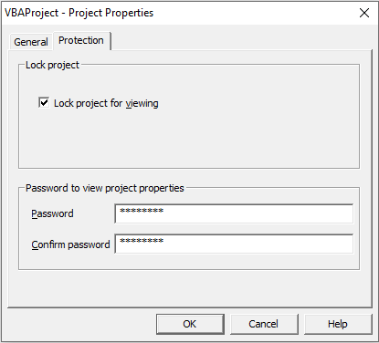 Project Properties dialog box