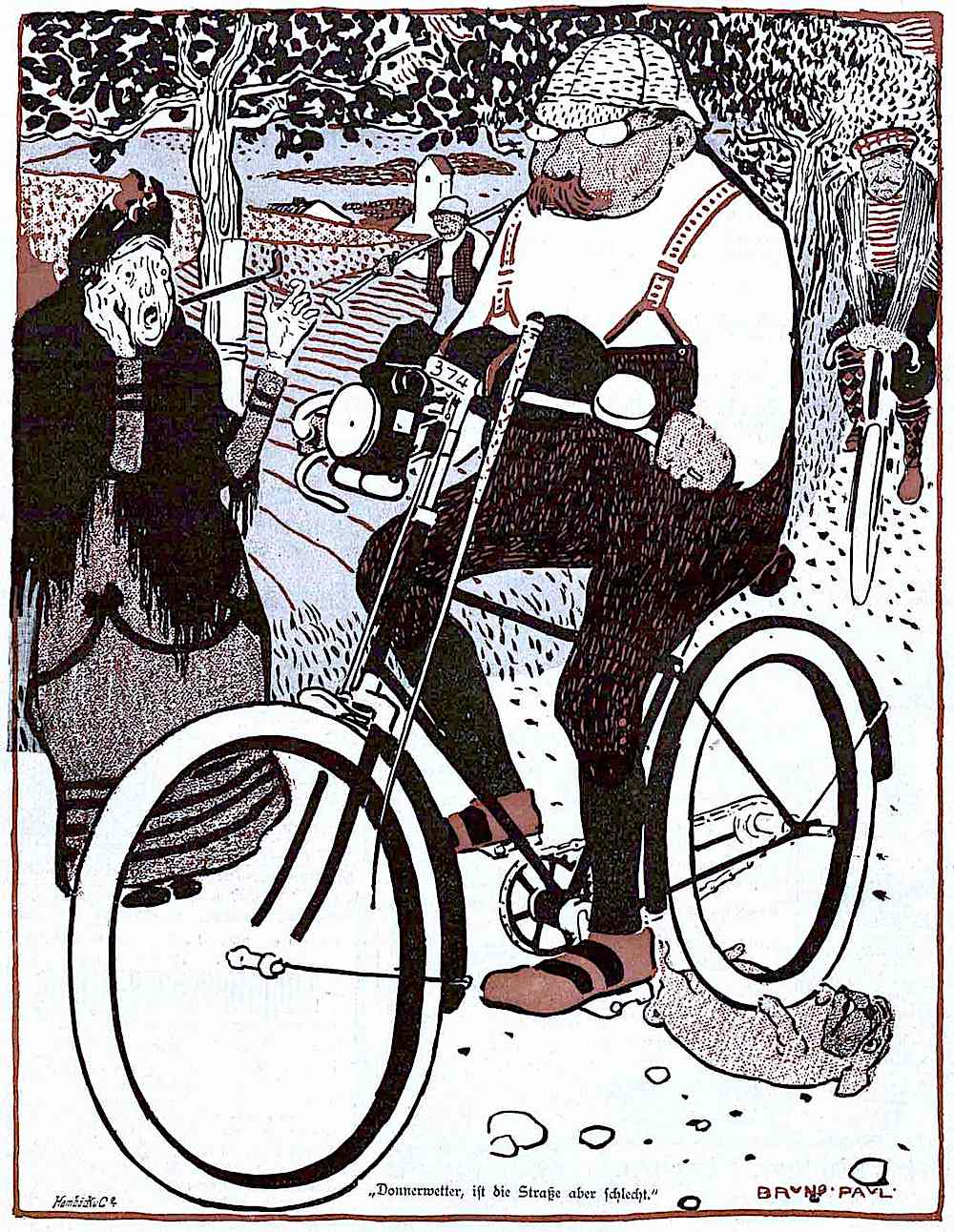 a Bruno Paul cartoon about bicycling etiquette