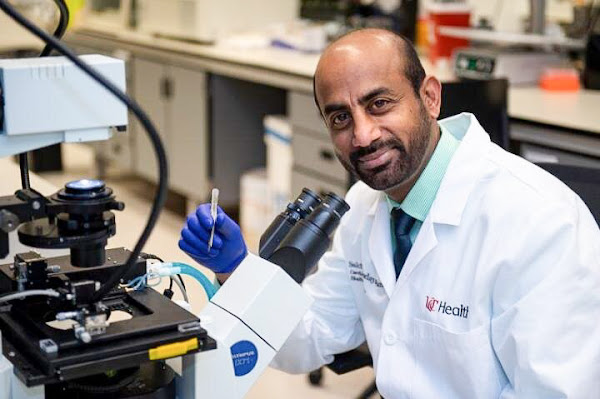 Sakthivel Sadayappan, PhD, shown in the University of Cincinnati College of Medicine. Photo: Colleen Kelley/University of Cincinnati