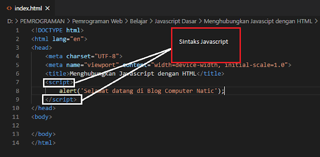 Cara Menghubungkan Javascript dengan HTML - Sintaks Javascript
