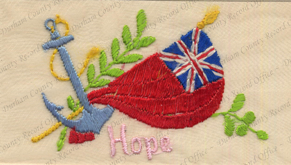 D/DLI 13/2/170 Embroidered postcard with Red Ensign and anchor