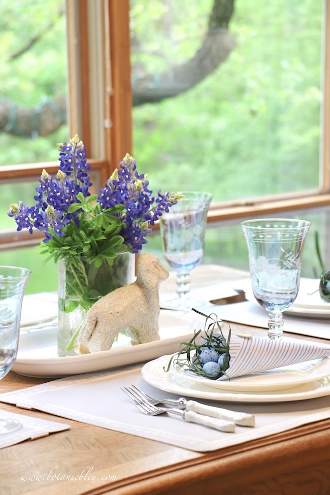 Easter Table With Bluebonnets is one of my all time favorite blue and white table settings
