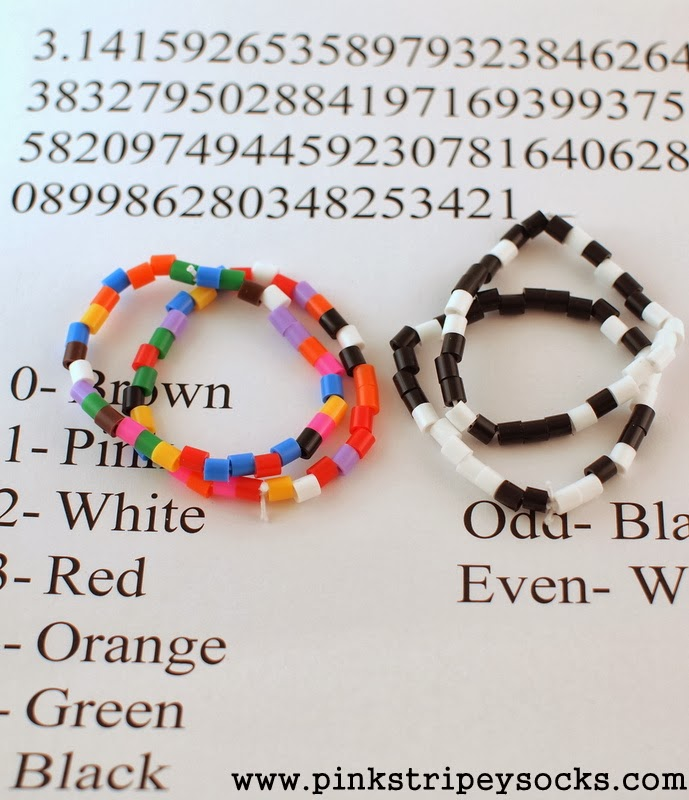 Pi Day Bracelet Easy Craft Activity where beads represent Pi's digits
