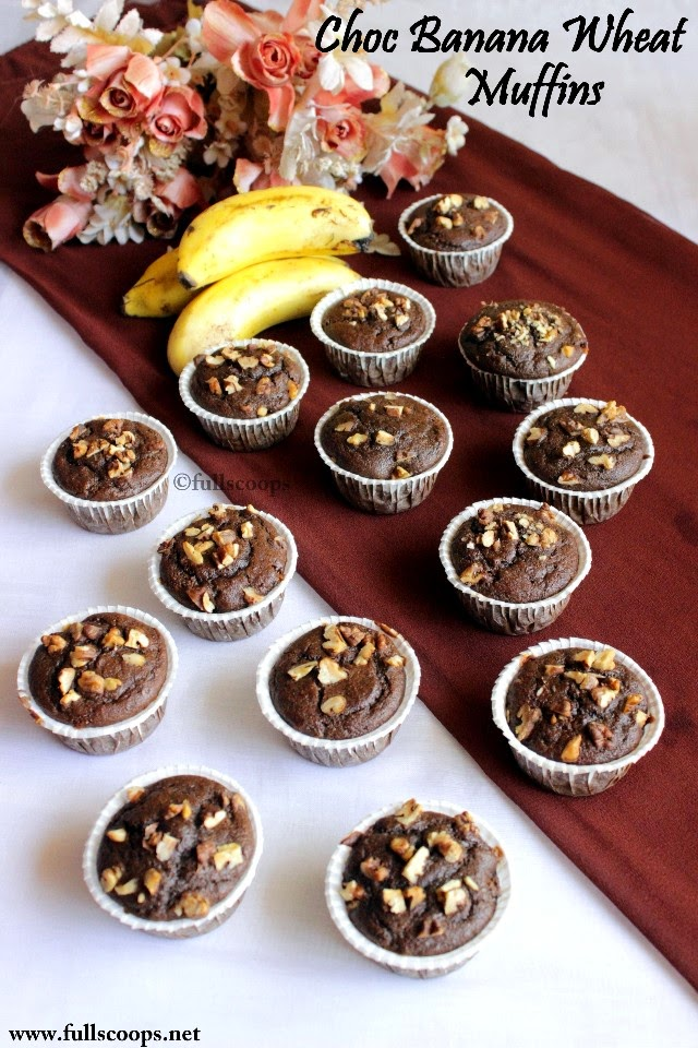 Whole wheat Chocolate Banana Jaggery Muffins