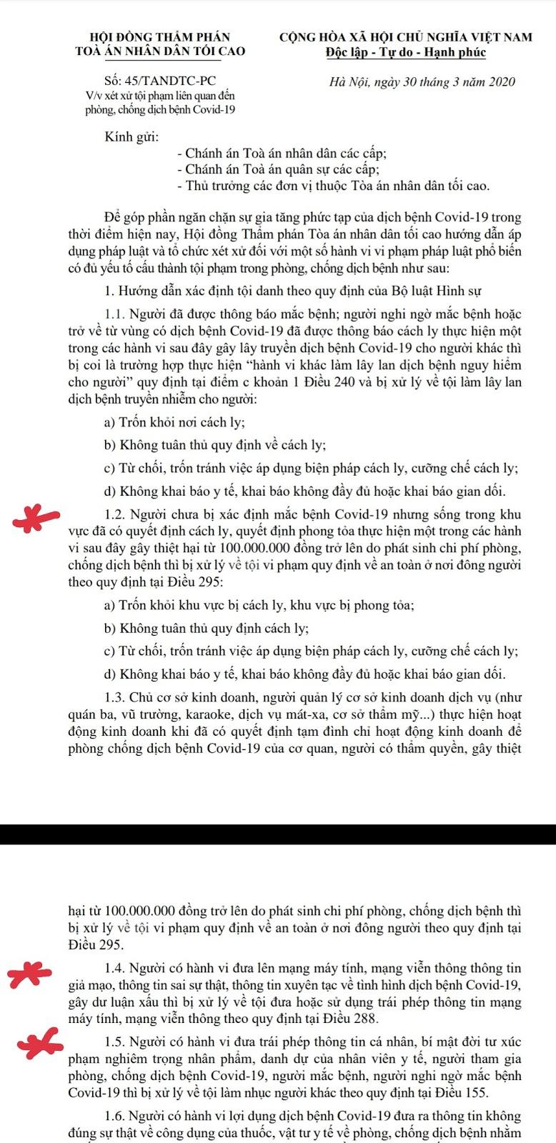 NHỮNG LỜI XÀM NGÔN VỀ COVID 19 SẼ PHẢI CHỊU MỨC ÁN THÍCH ĐÁNG