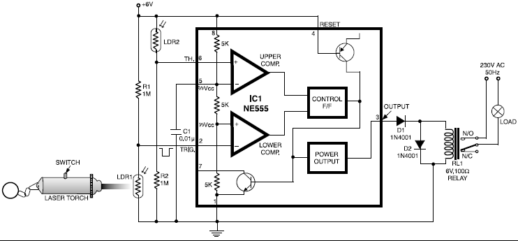laser controlled on off switch circuit diagram circuit projects