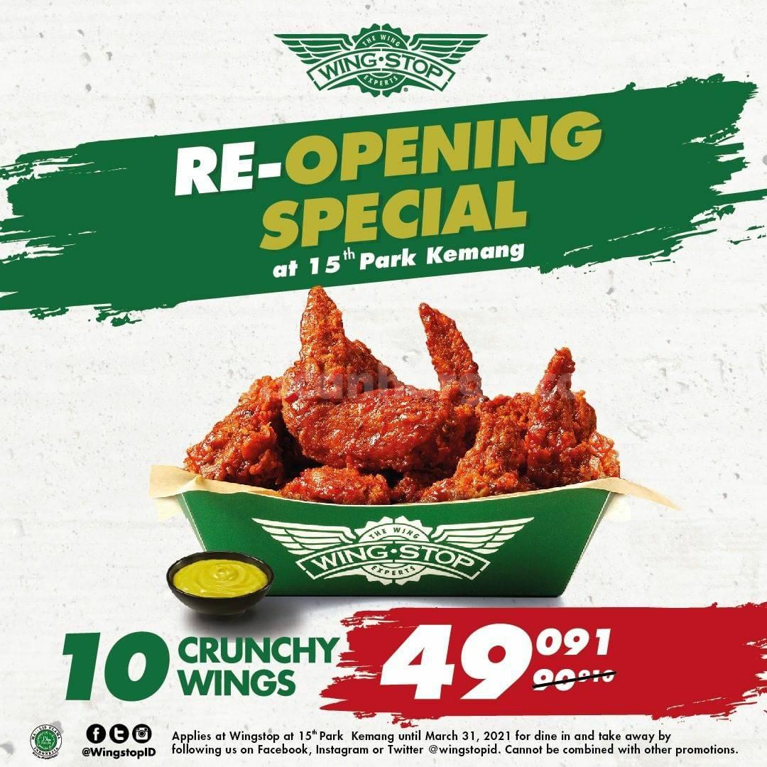 Wingstop Park Kemang Re-Opening Promo! 10 Crunchy Wings cuma Rp 49.091