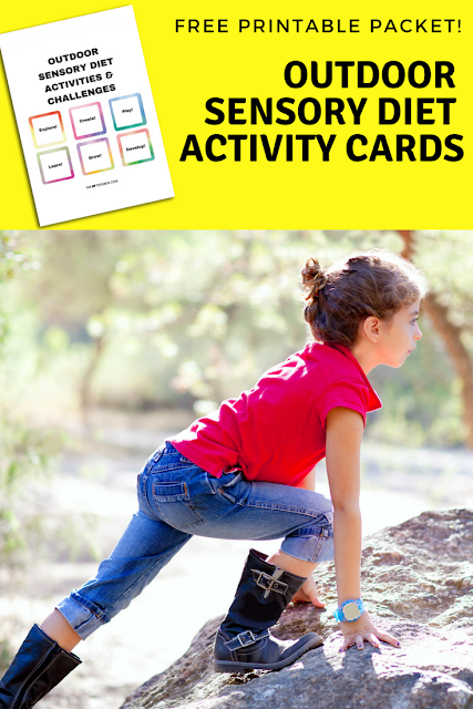 Use these outdoor sensory diet activity cards and sensory challenges to help kids who need a sensory diet or when discovering how to create a sensory diet that works and meets the needs of kids with sensory processing disorder, perfect for the occupational therapist who is looking for effective, easy, and fun occupational therapy activities!