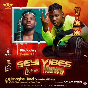 RickJay Performing @ Seyi Vibez Live At Mowe (Imagine Hotel)