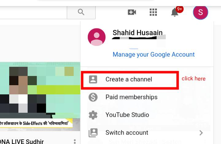 New Youtube Channel Create Button