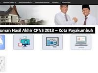 Pengumuman Hasil Akhir CPNS 2018 Kota Payakumbuh