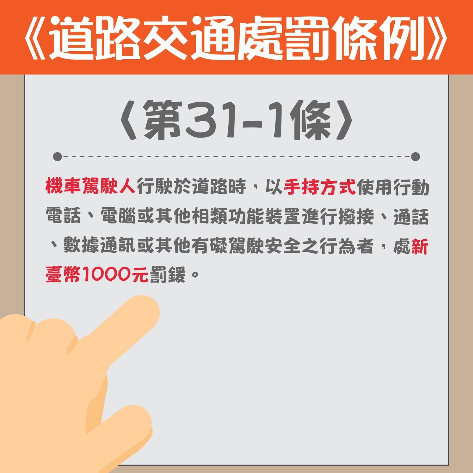 機車駕駛人行駛於道路時,以手持方式使用行動電話、電腦或其他相類功能裝置進行撥接、通話、數據通訊或其他有礙駕駛安全之行為者,處新臺幣1000元罰鍰。