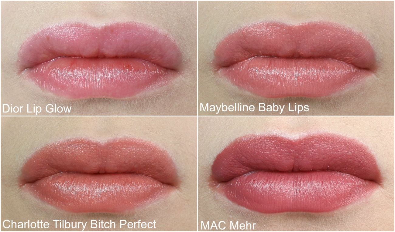 Everyday Lipsticks MAC Mehr, Charlotte Tilbury Bitch Perfect, Dior Addict Lip Glow and Maybelline Babylips Colorbalm in Caramel