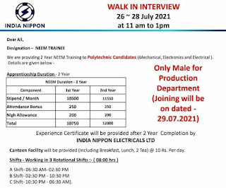 India Nippon Electricals Ltd Recruitment For Diploma Mechanical Electronics and Electrical Freshers Candidates | Walk In Interview