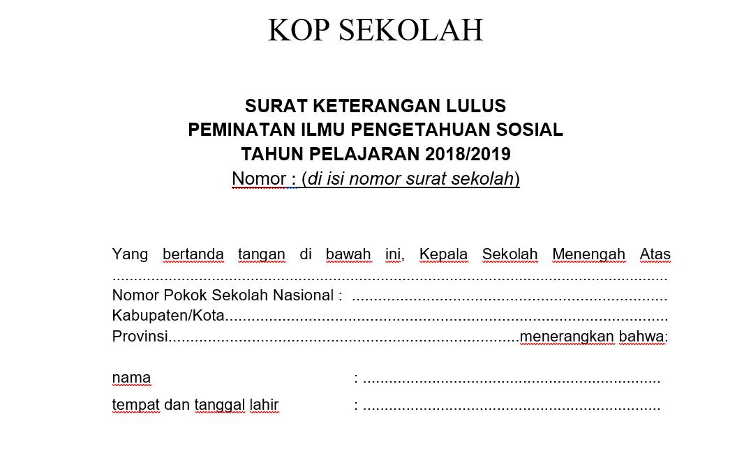 Contoh Format Surat Keterangan Lulus Tahun 2019 Sma Negeri 5 Langsa