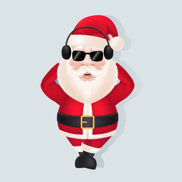 Santa Claus in Headphones and Sunglasses Free Vector