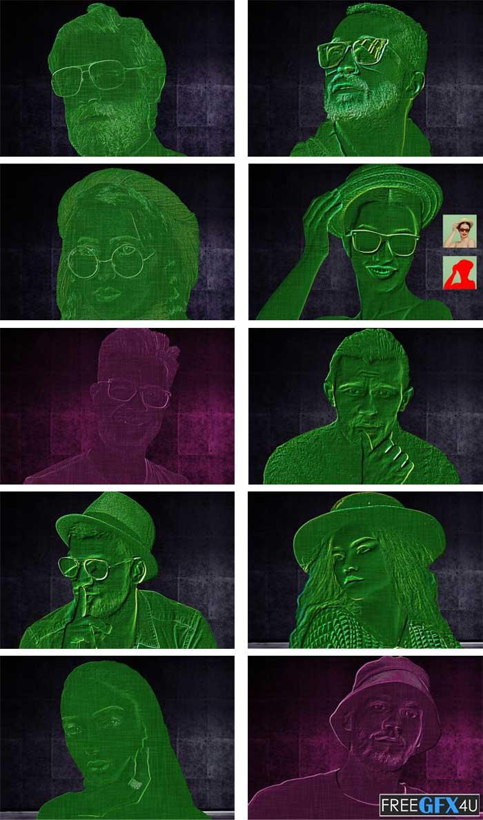 Laser Scan Photoshop Action