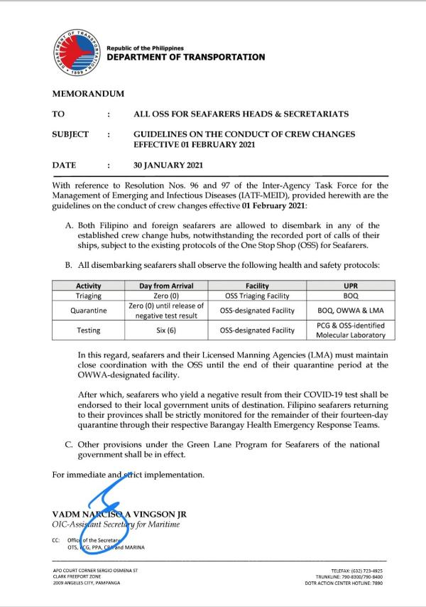 Department of Transportation (DOTr) Memorandum re Guidelines on the Conduct of Crew Changes Effective 01 February 2021 dated 30 January 2021.