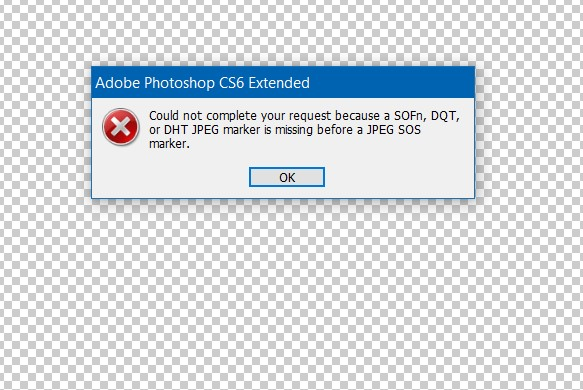 Could not complete your request because a SOFn, DQT or DHT JPEG marker is missing