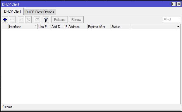 Menu DHCP Client