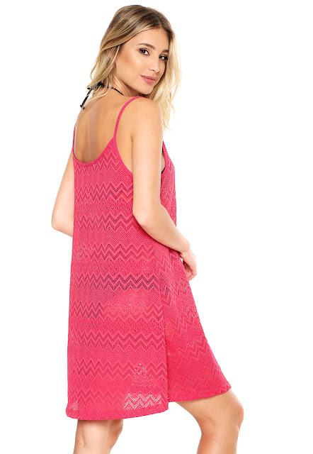 Moda Vestido Beautty Curto Vazado Rosa