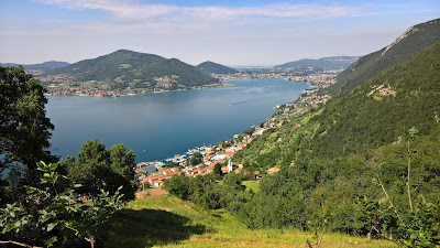 Looking back down the trail at Predore and Lago Iseo