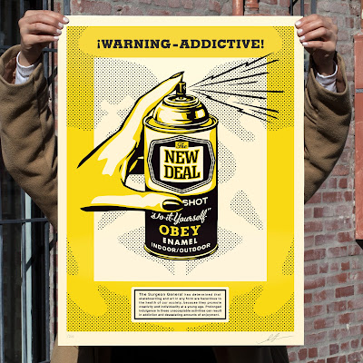 "Obey Giant ""Warning-Addictive"" Screen Print by Shepard Fairey"