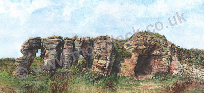 A watercolour painting of Caiplie Caves, Fife