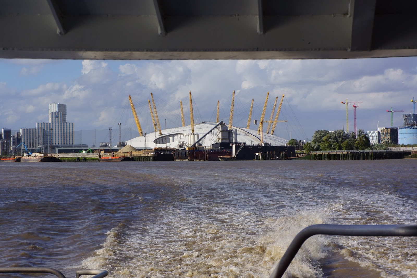 the o2 from a boat on the river