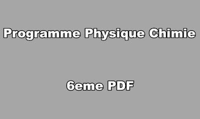 Programme Physique Chimie 6eme PDF