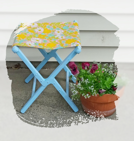 vintage folding camp stool makeover