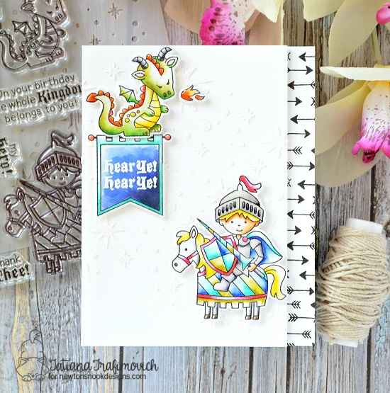 Knight and dragon by Tatiana Trafimovich | Knight's Quest Stamp Set by Newton's Nook Designs #newtonsnook #handmade #knight