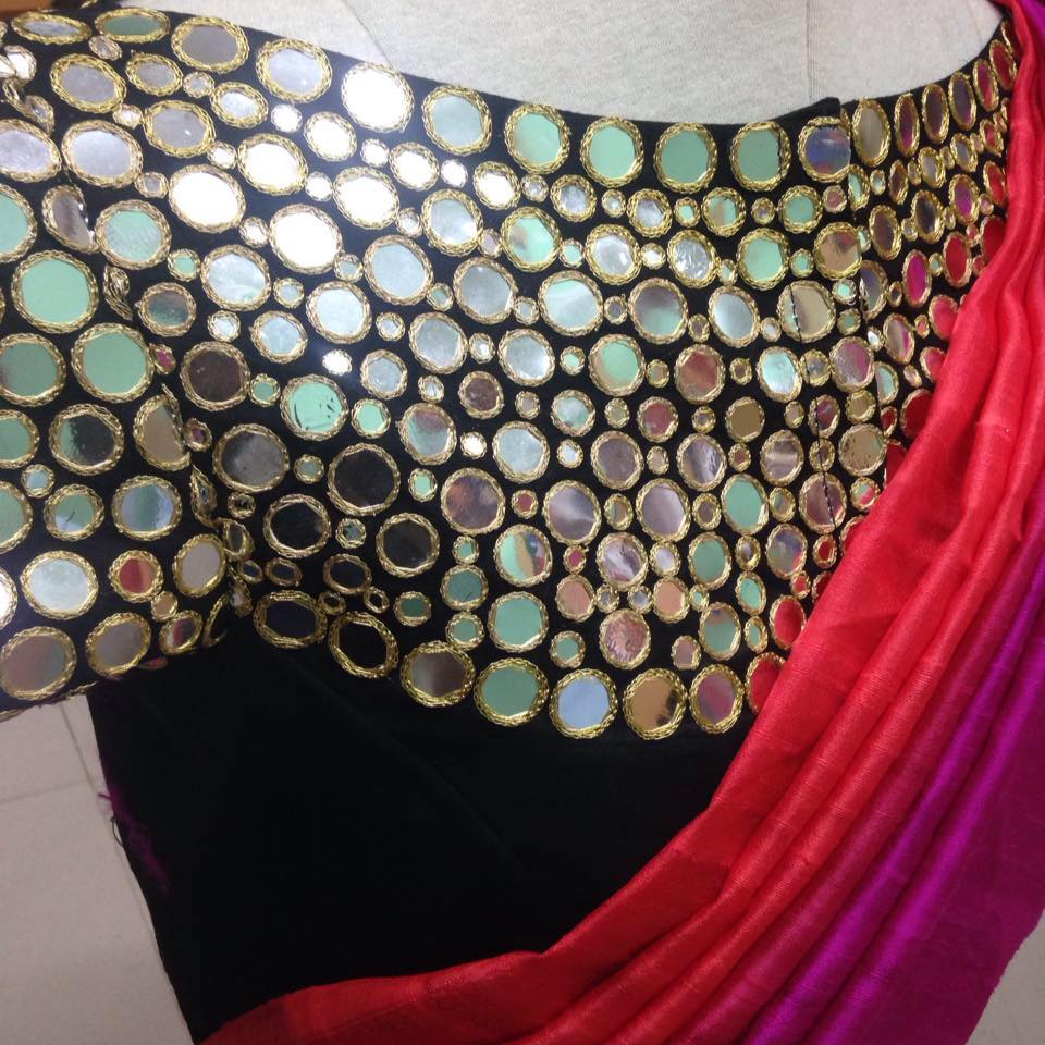 Sparkling Fashion: Latest Mirror work blouse designs