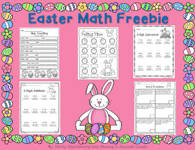 Easter Math that includes 3-digit addition, word problems, skip counting, and more