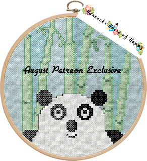 panda in the woods cross stitch design on patreon