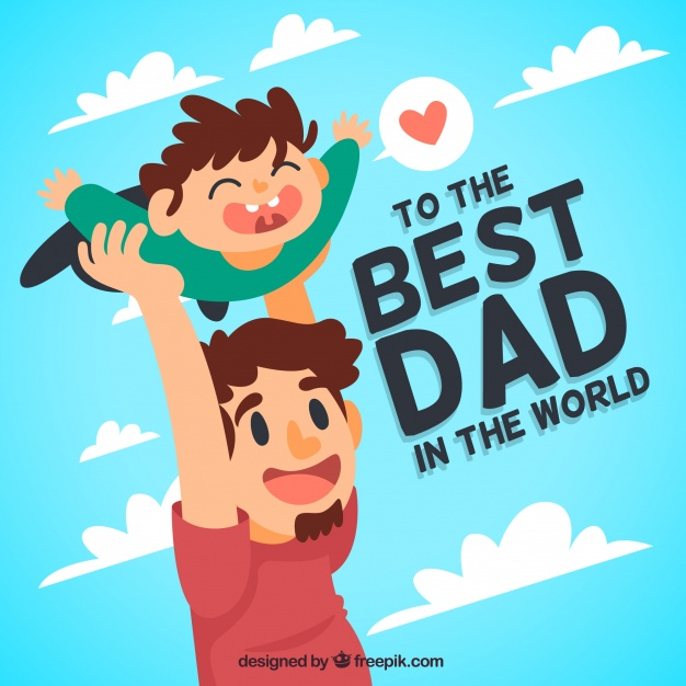 Pretty background of man playing with his son for father's day Free Vector