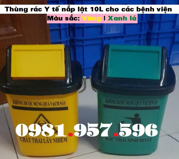 Thùng rác nắp lật 10L xe tiêm, thùng rác Y tế nắp lật 10L, thùng rác Y tế nắp lật