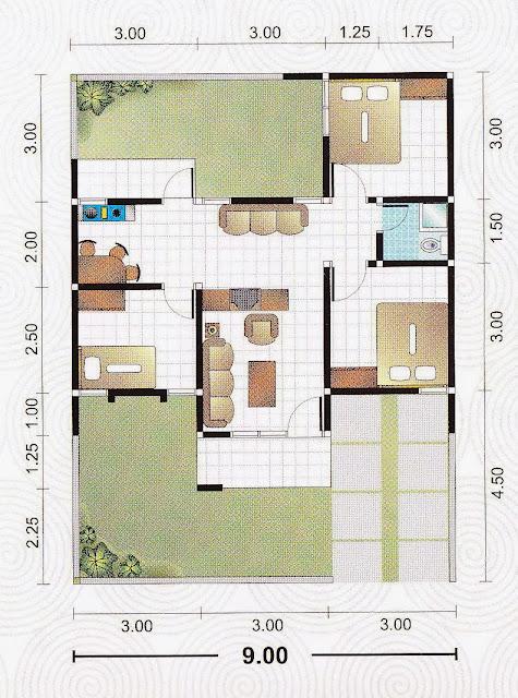 Denah Rumah Minimalis 9×13 Meter