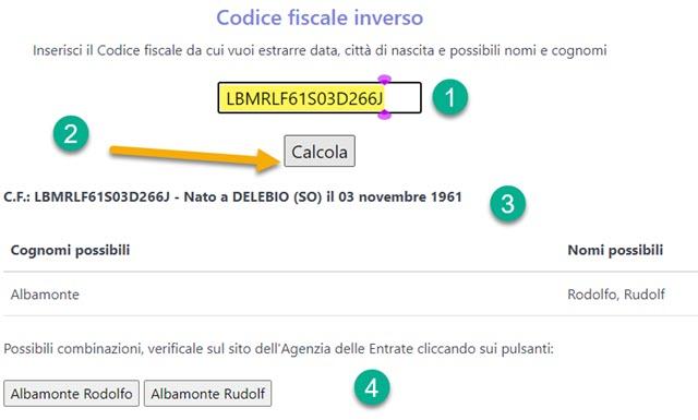 calcolo del codice fiscale inverso