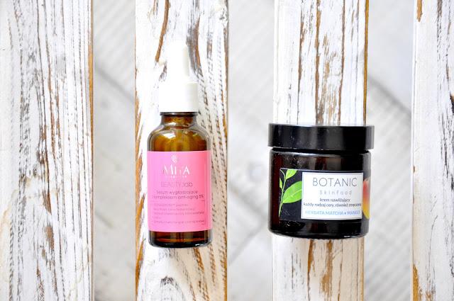 serum wygładzające miya cosmetics z kompleksem anti-aging 5%, nawilżający krem do twarzy botanic skinfood herbata matcha & mango