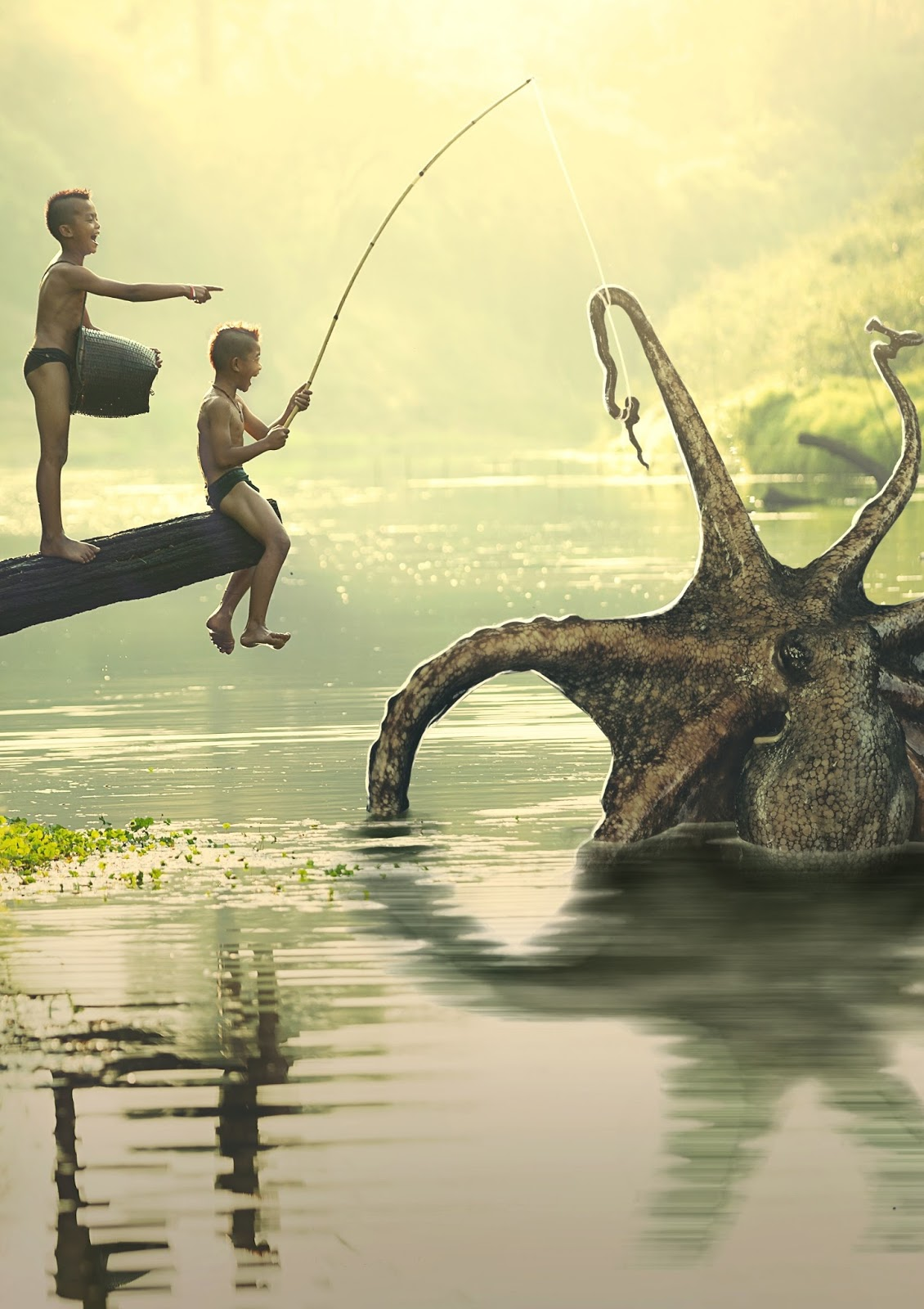 Two boys fishing a mysterious sea monster.