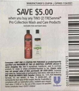 Tresemme 5 off 2 coupon