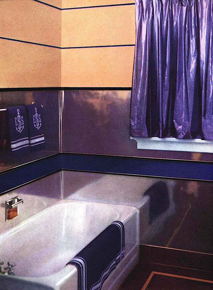 a 1939 bathroom in copper and purple, a color photograph