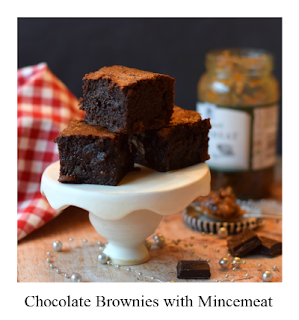 This brownie recipe is not only a delicious Christmas bake, but also the perfect way of using half a jar of sweet mincemeat.  It's delicious and indulgent as you would expect with a brownie recipe that includes real chocolate in the mixture.