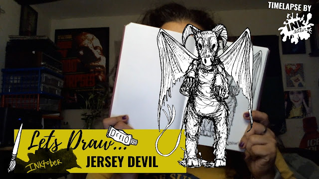 Drawing The Jersey Devil - Exploring Cryptids Worldwide | Inktober